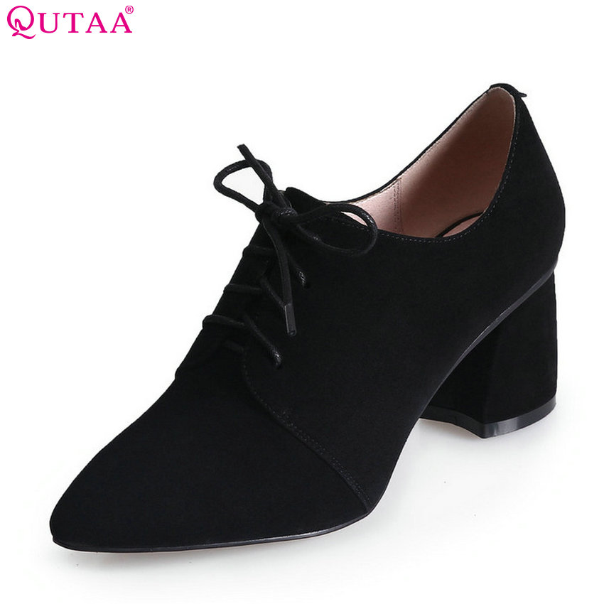 QUTAA 2018 Women Pumps Spring/ Autumn Fashion Lace Up Women Shoes Square High Heel Leisure Pointed Toe Women Pumps Szie 34-39 xiaying smile new spring autumn women pumps british style fashion casual lace shoes square heel pointed toe canvas rubber shoes