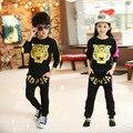 Varejo Crianças esporte Da Cópia do Tigre conjunto de jogging sportswear casaco + Calças Harém para meninos meninas fatos de treino shampooers roupas de Hip Hop