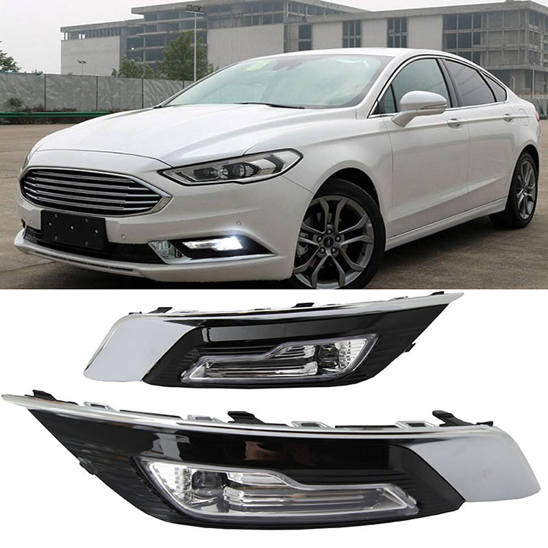 1set for Ford Fusion Mondeo 2018 LED DRL Fog lamp Daytime Running Light Daylight Waterproof Styling light1set for Ford Fusion Mondeo 2018 LED DRL Fog lamp Daytime Running Light Daylight Waterproof Styling light