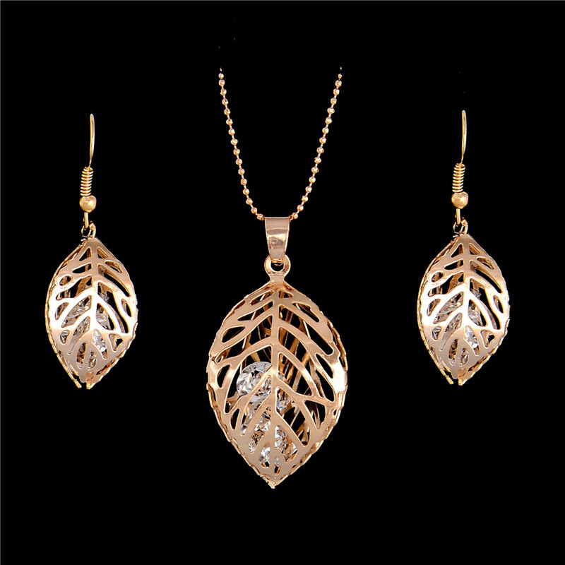 H:HYDE 1SET Fashion Womens Gold Color Classic Hollow Leaf Austria Crystal Necklace Earrings Wedding Jewelry Sets Wholesale 4
