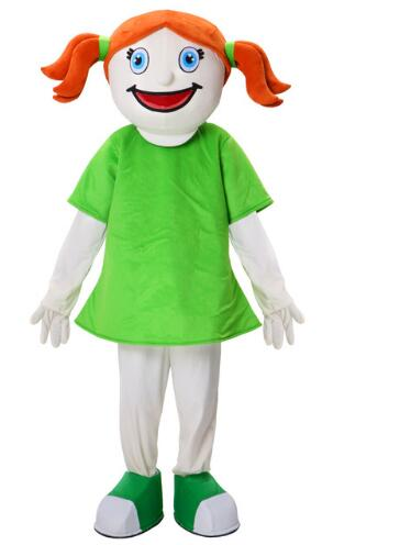 LOL cute smiling face girl emoji Mascot Costume orange hair with green dress Cartoon Character Party Dress Costume