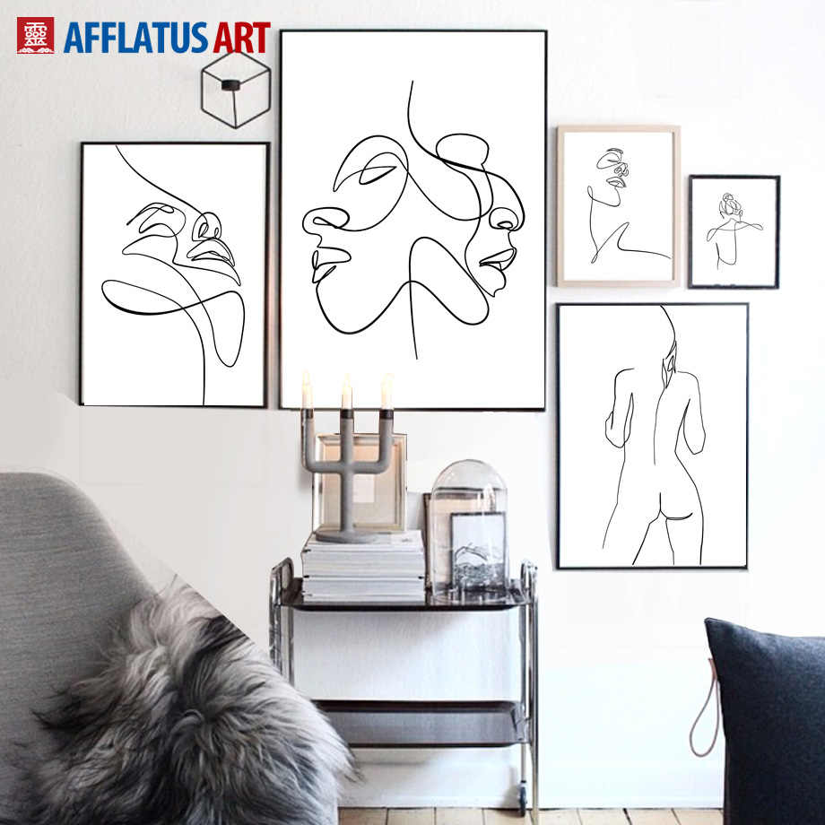 Abstract Girl Figure Line Painting Wall Art Canvas Painting Nordic Posters And Prints Decoration Pictures For Living Room Decor