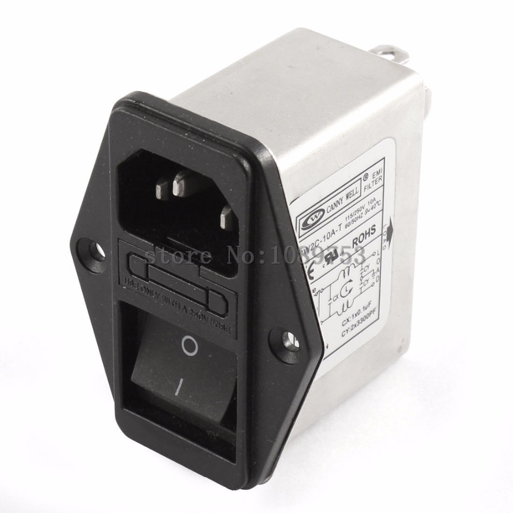 1pcs power socket insured CANNY WELL EMI power filter CW2C-10A-T AC110V-250V 10A eam 10 331 ac power line filters emi filter mr li