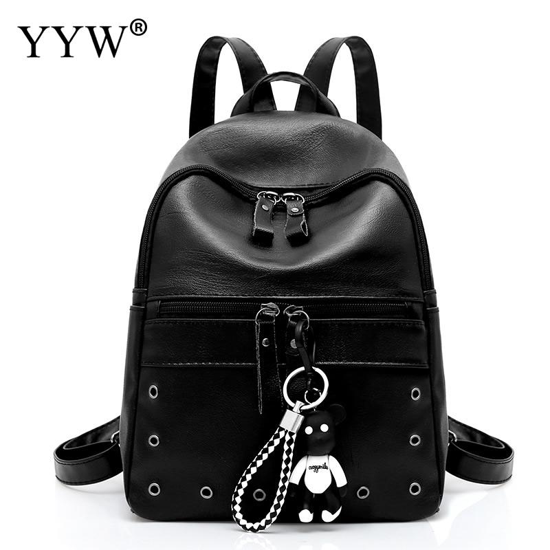 YYW Leather Women Schoolbag Backpack Large Capacity Travel Backbags With Little Bear Doll Solid Black Leisure Mochila Feminina