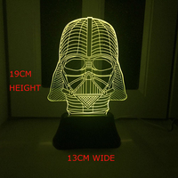 Hot Sale Cartoon Star Wars Vader 3D LED USB Lamp 7 Colors Changing Mood Illusion Touch