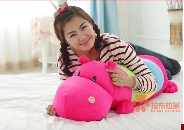 stuffed animal cute hippo plush toy 70cm hippo doll multicolor  Cushion throw pillow about 27 inch toy p0450 lovely panda in pink dress big 90cm plush toy panda doll soft throw pillow proposal birthday gift x030