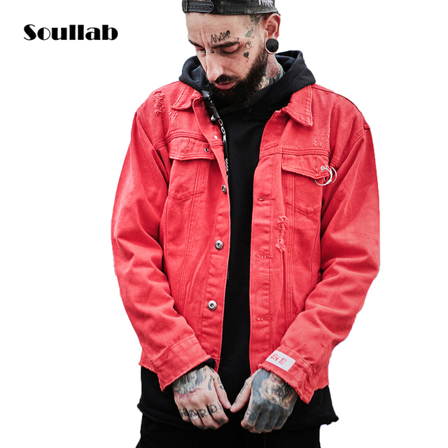 Soullab Autumn Winter New Quality Red Ripped Destroyed Denim Jacket