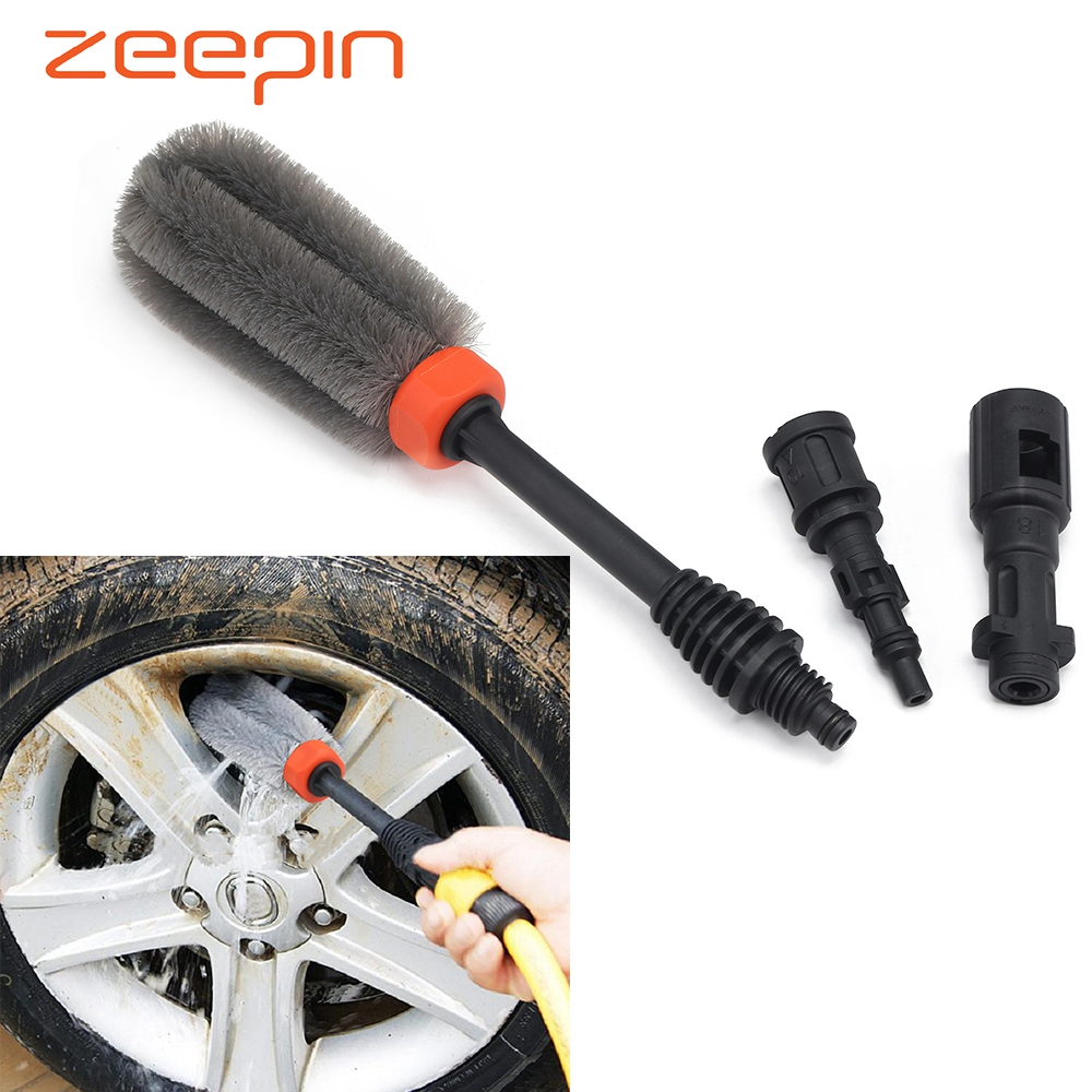 Car Wheel Tire Washing Brush 360 Degree Rotating High-pressure Tyre Cleaning Tool With Karcher Connector