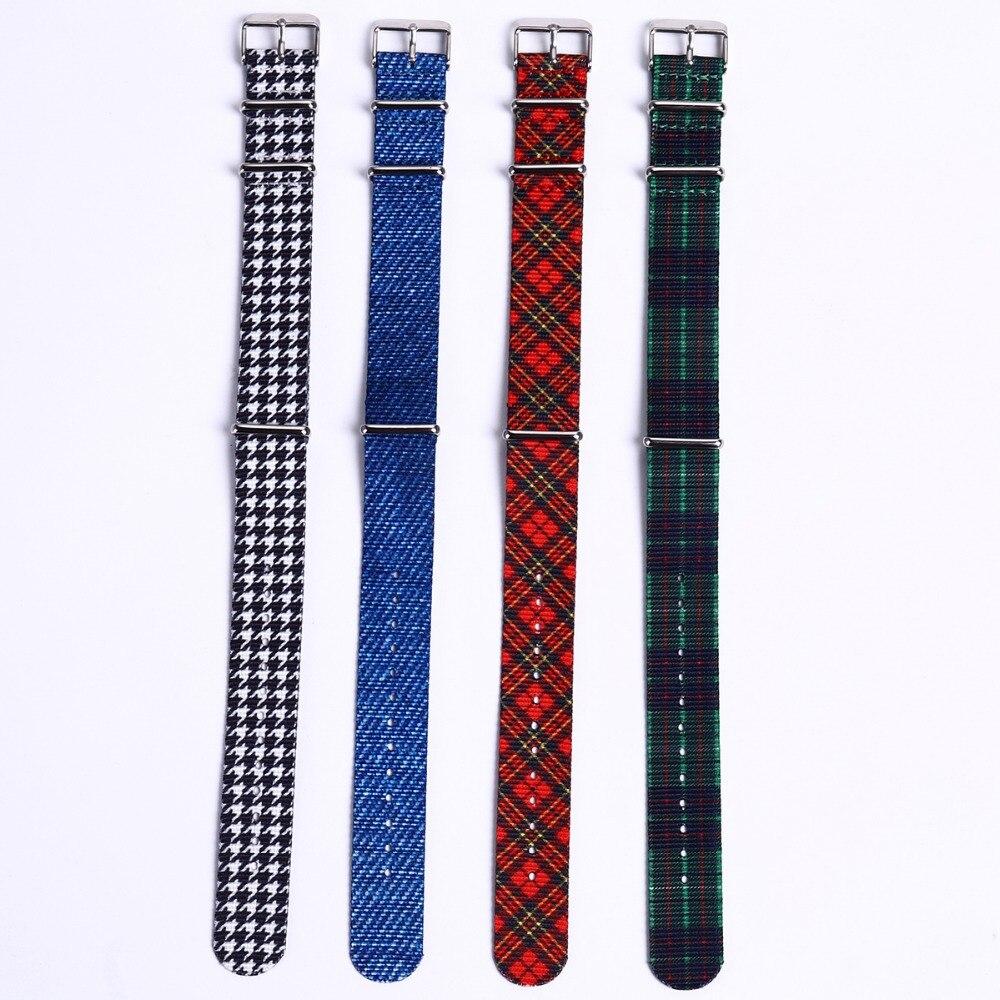 EACHE специальные дизайнерские нейлоновые ремешки для часов NATO 20 мм с клетчатым узором, женские и мужские аксессуары для наручных часов, оптов...