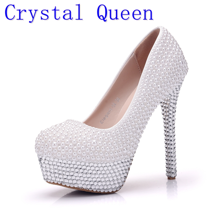 Crystal Queen Women Pumps Silver Rhinestone Wedding Shoes Ultra High Heels Woman Crystal Platform Party Shoes Plus Size 41 free shipping sparkly silver crystal and rhinestone high heels with spikes ultra high heels shoes for wedding party prom