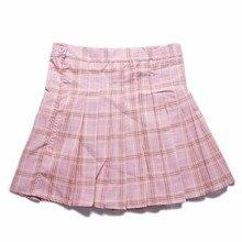 Harajuku Skirts Women High Waist Pleated Short Skirts Women Lolita Uniforms School Tartan Plaid Saia Girls Striped Pleated Skirt