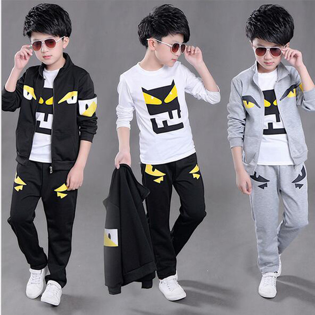 03a9bf9b8 Autumn Boys Clothing Set Christmas Kids Clothes Three Piece T-Shirt +Coat+Pants