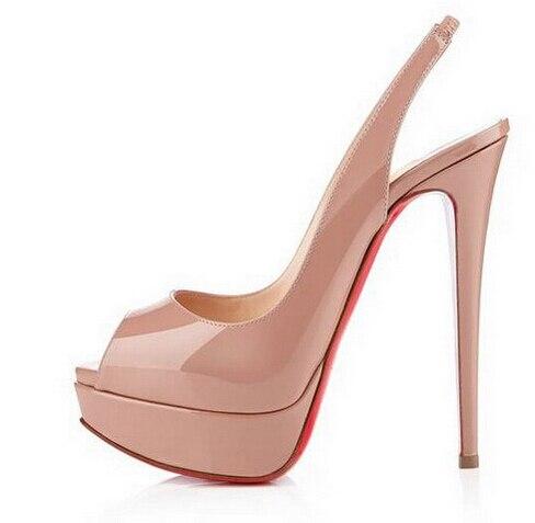 2d44b97fb7e7 14 CM semelle rouge chaussures Nude / noir en cuir verni escarpins talons  sandales à bout ouvert femmes pompes talon dans Pompes de femmes de  Chaussures sur ...