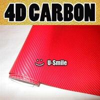 Premium 4D Red Gloss Carbon Fiber Vinyl Wrap Bubble Free Air Release DIY Film Size 1