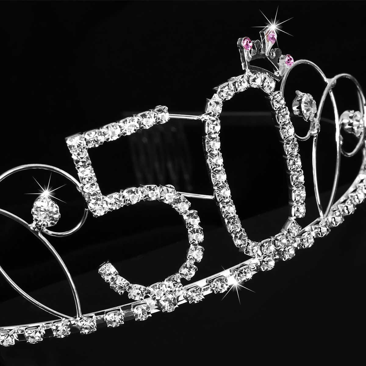4f62495328 50th Birthday Tiara Bling Tiara 50th Birthday Crown For Hair Decoration