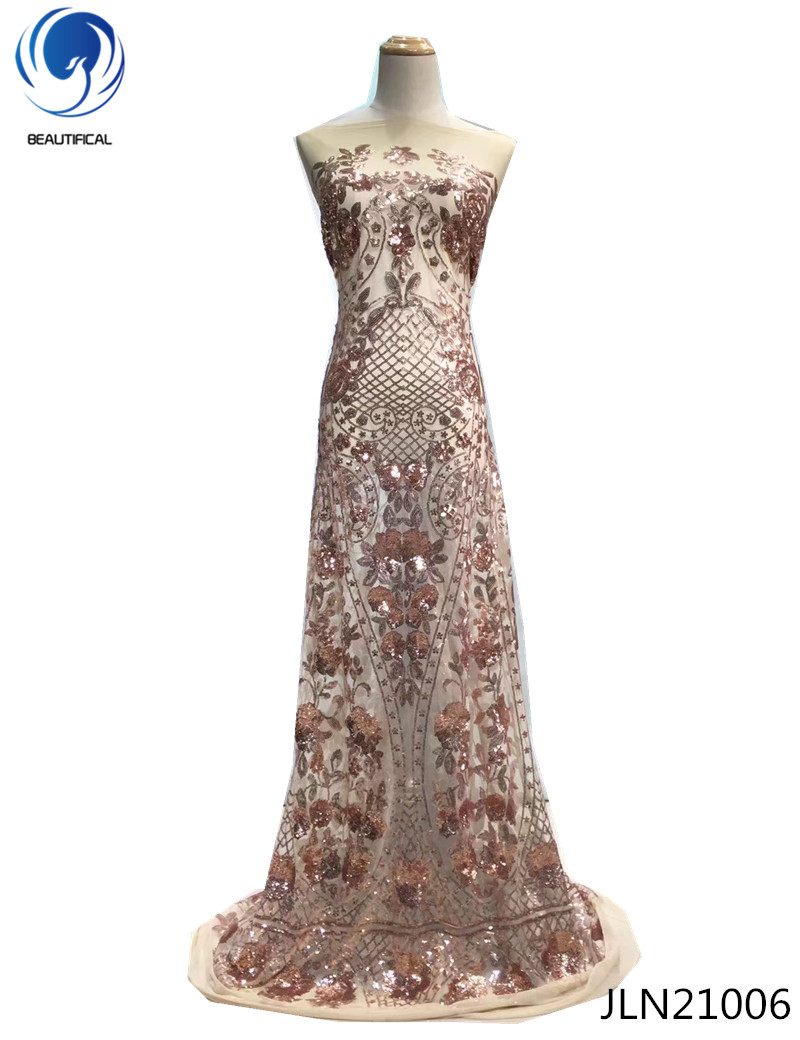 BEAUTIFICAL Latest African Lace Fabric 2018 Embroidered French Tulle Lace High Quality Sequins Embroidery dress 5yards JLN210 in Lace from Home Garden