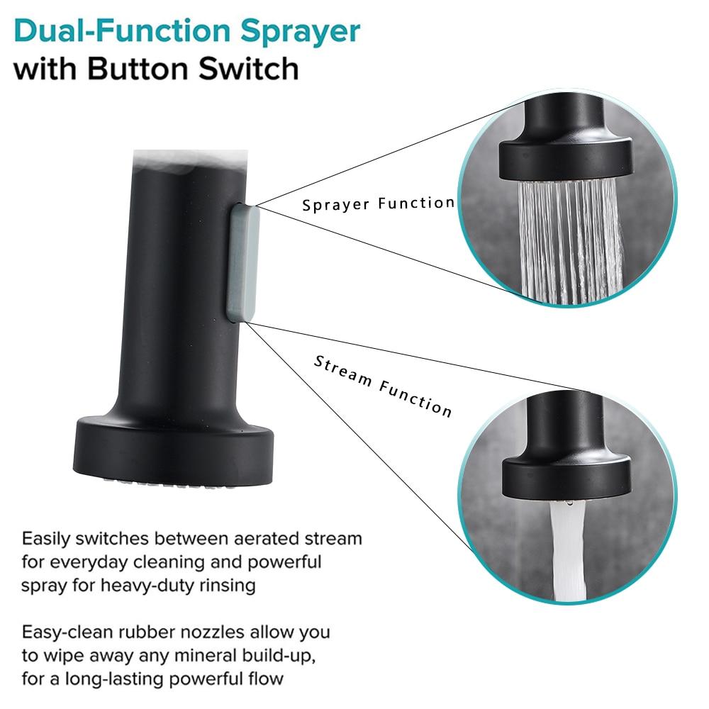 Rozin Matte Black Kitchen Faucet Deck Mounted Mixer Tap 360 Degree Rotation Stream Sprayer Nozzle Kitchen Sink Hot Cold Taps
