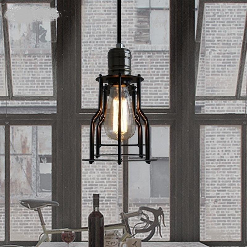 Loft Pendant Lights  village industrial retro creative restaurant small iron frame 15cm black  Pendant Lamps industrial  pendant lights loft retro