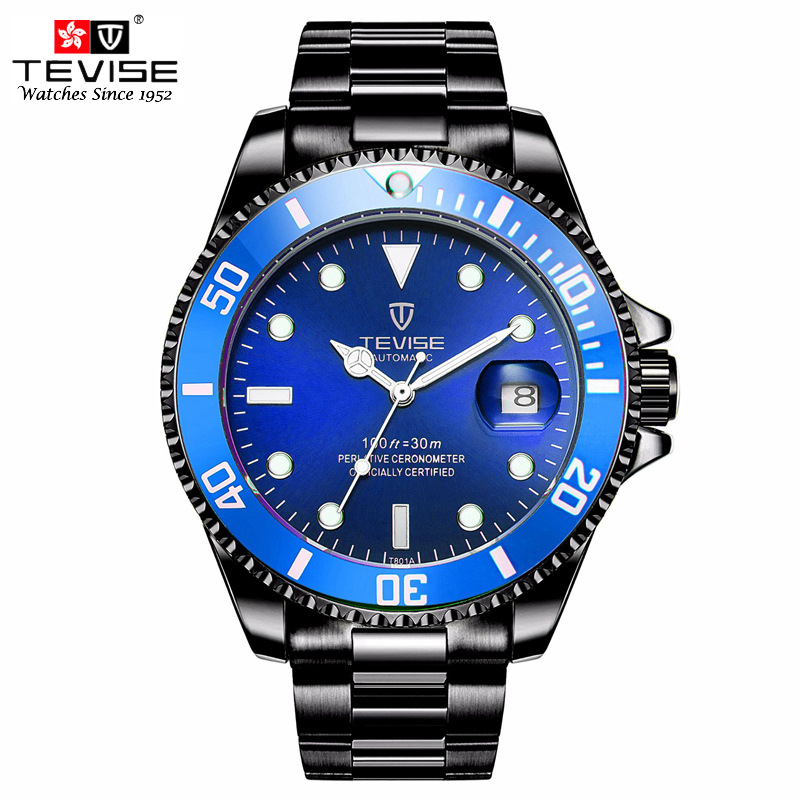 TEVISE Automatic Self-Wind Watches Auto Date Stainless Steel Business Black Watch Men Mechanical Clock Wristwatch Relogio tevise men automatic self wind gola stainless steel watches luxury 12 symbolic animals dial mechanical date wristwatches9055g