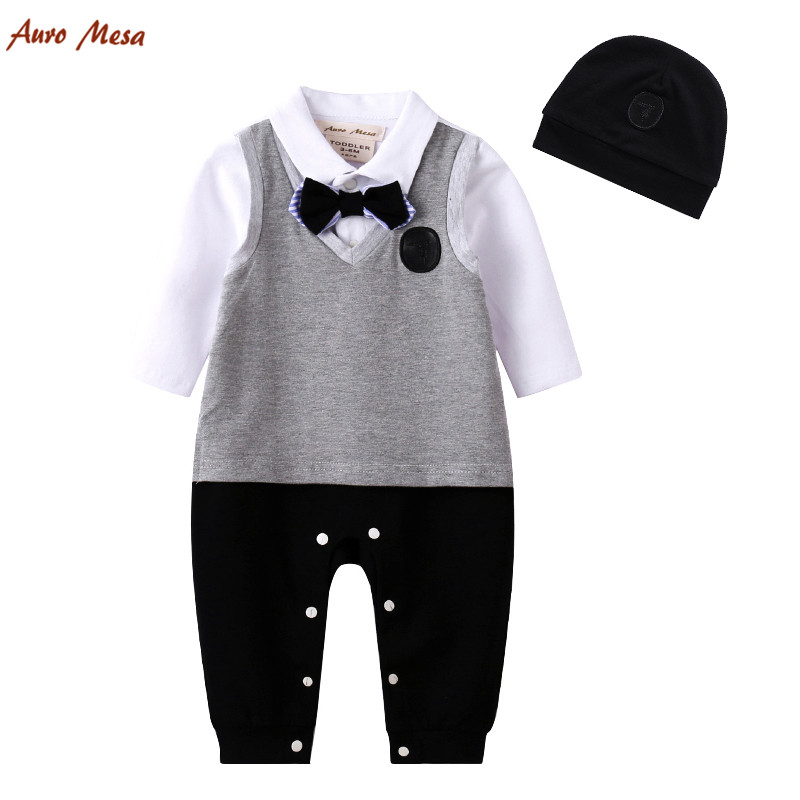 Auro Mesa New England Style Baby Romper Bow Tie Full Jumpsuit With Hat Gentleman Infant Boys Party Costume Coverall