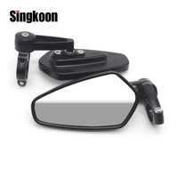 7/8 Universal Motorcycle Rear View Mirror Black Handle Bar End Side RearView Mirrors FOR suzuki gn 125 mt 09 tracer bandit 1250