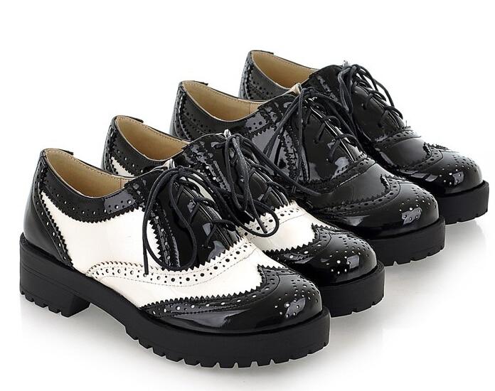 57396c4872b 2015Vintage Black White Round Toe Leather Oxfords Shoe Womens Ladies Lace  Up Flat Platform Brogue Creepers Shoes Plus Size 34-43