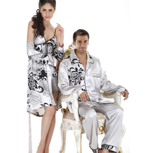 228ea2a4a Elegante Pijama De Seda Mens Pijama De Cetim de Manga Longa Casal Pijamas  Conjunto de Pijama de Seda De Seda Dos Homens Sleepwear