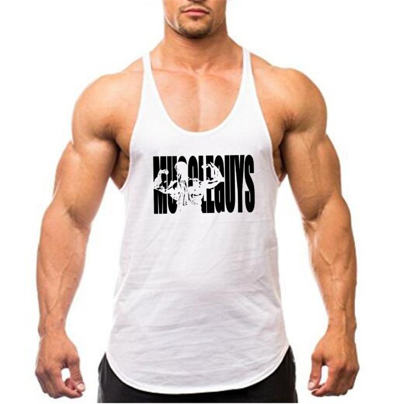 Muscleguys Brand Fitness Clothing Bodybuilding Tank Top Men Gyms Stringer Singlet Cotton Sleeveless shirt Workout Man Undershirt 43