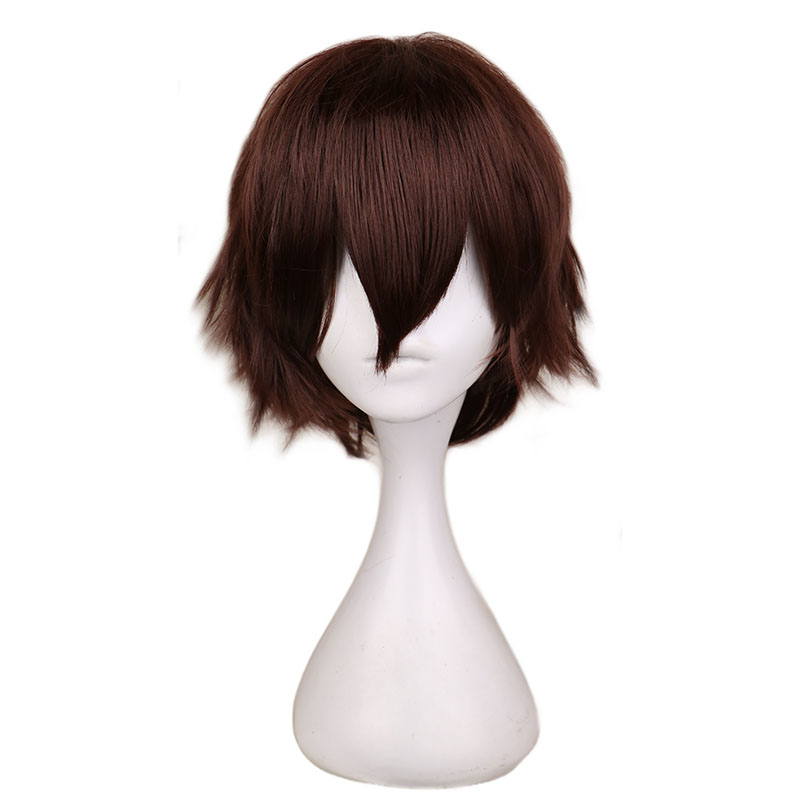 › Peruca curta reta masculina cosplay, cabelo sintético castanho escuro de fibra de alta temperatura 100%