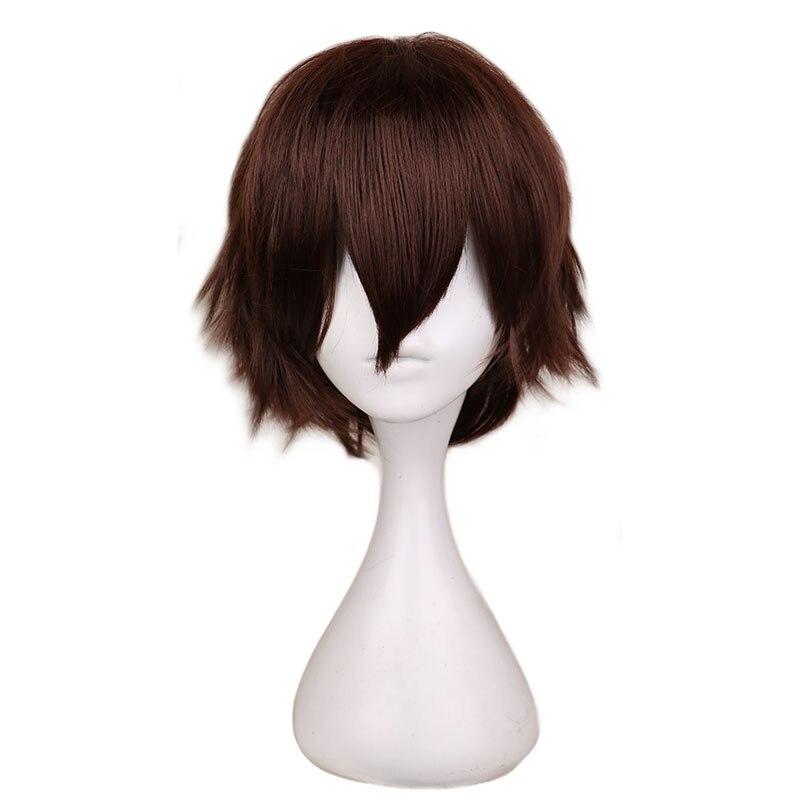Qqxcaiw curto em linha reta cosplay peruca homem marrom escuro cabelo sintético perucas de fibra alta temperatura 100%