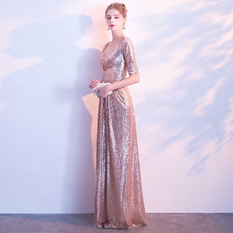 9e22e94aa5 JaneVini Shiny Rose Gold Sequins Bridesmaid Dresses With Sleeves Elegant  V-Neck Long Wedding Party Dress 2018 Women Formal Gowns