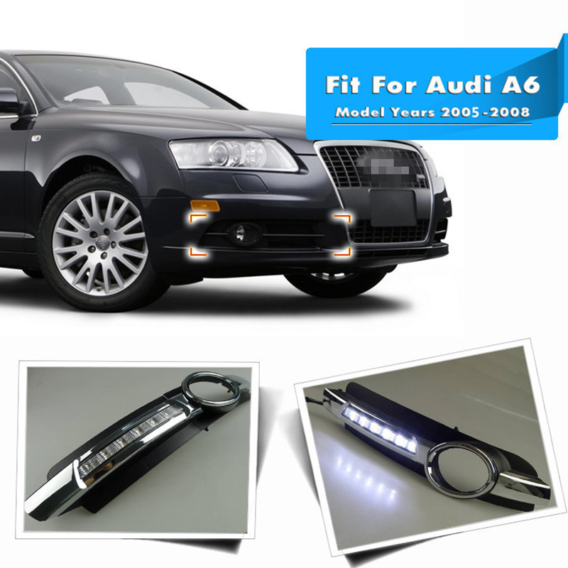 2PCS Chrome Style 12V LED Daytime Running Light White DRL Front Fog Lamp For Audi A6 A6L C6 2005 2006 2007 2008