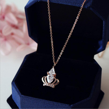 Hot Sale Luxury Queen Crown Cubic Zirconia Necklaces &Pendants Rose Gold Color Choker Necklace Chain Fashion Jewelry For Women hot copper jewelry for women panther head necklace aaa cubic zirconia enamel leopard animal long pendant rose gold luxury brand
