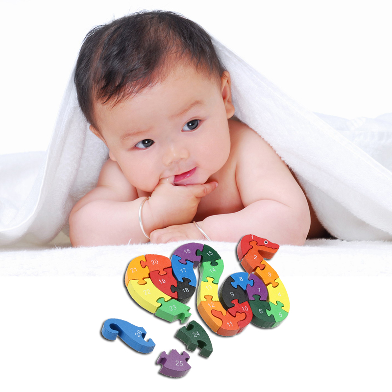 Baby Playpens Games Wooden Kids Puzzle Educational-Toys English-Letters Snake Animals