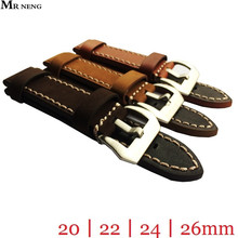 MR NENG Brand High Quality Silver Buckles Brown Tan Colors WatchBand Watch Straps & Silver Buckle 20mm 22mm 24mm 26mm
