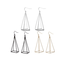 Exaggeration extremely simple about jewelry fashion geometry Pyramid black pendant earrings