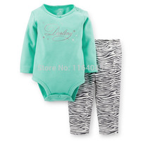 LL2-020,New Collection, Baby Girls 2-Piece Bodysuit With Long-sleeve and Pants Set, , Cuteness, Free Shipping