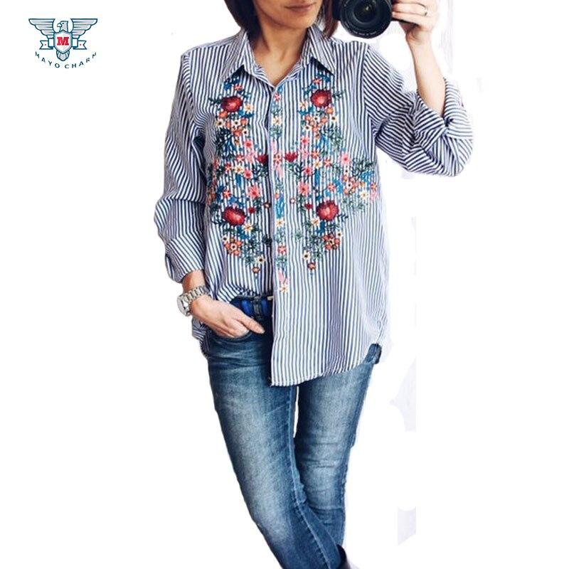 Blusas Bordadas 2017 Azul de Primavera Camisa de Manga