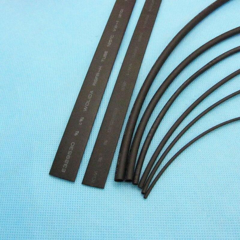 8 metro/lote cor preta do tubo da tubulação do psiquiatra do calor 1mm 1.5mm 2mm 3mm 4mm 5mm 8mm 10mm 2:1 jogo bonde do cabo do carro da isolação