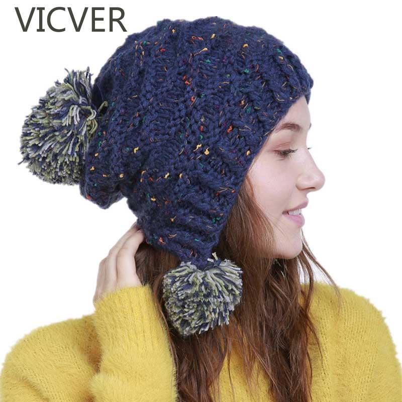 Beanies   For Women Winter Cap Earflap Knitted Hat Ladies Cute Pom Pom Hats   Skullie     Beanie   Warm Cap Female Striped Crochet Hat Xma