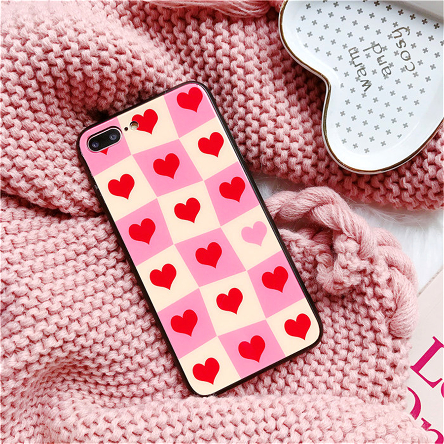 Luxury Cute Heart Phone case For Iphone6 6S Plus Simple Glass Lattice Soft Silicone Back Cover For iPhone 7 8 Plus X Coque Funda