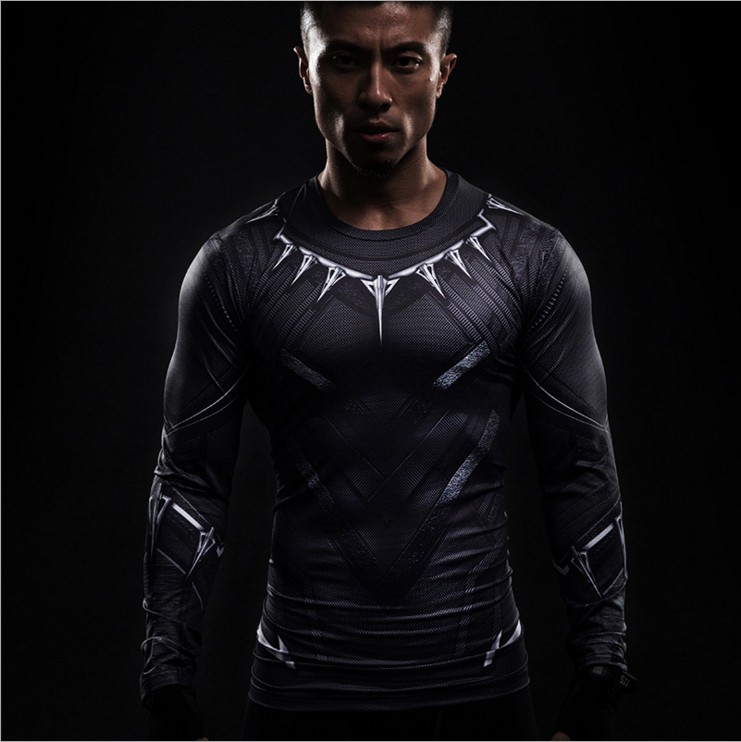 Black Panther compression T-shirt men long sleeve 3d captain America civil war iron man 3 tops tee summer tights t shirt