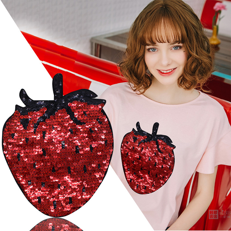 Sequins Red Strawberry Cloth Paste DIY Decorative Clothing Pattern Decals