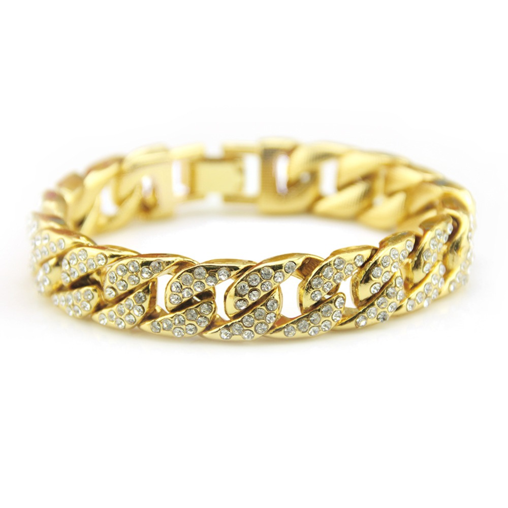 BNRESALE Fashion Iced Out Link Chain Bracelet AAA Rhinestone 14mm Miami Curb Cuban Bangle Present Bling Bling Rapper Jewelry