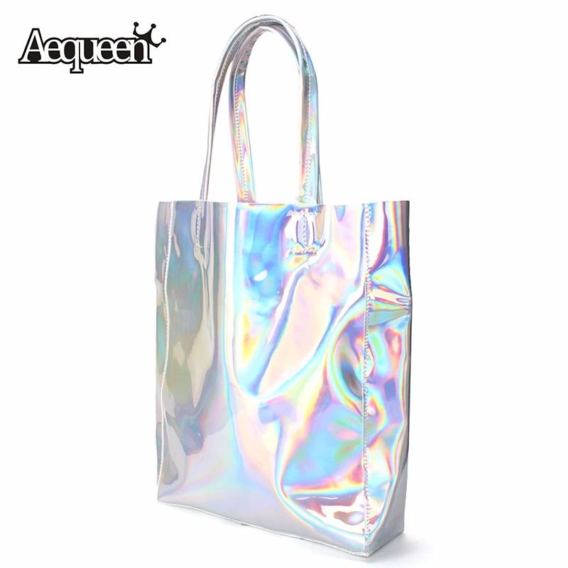 Women <font><b>Handbag</b></font> Laser Hologram Leather Shoulder Bag Brand New Lady Single Shopping Bags Large Capacity Casual Tote Bolsa <font><b>Silver</b></font>