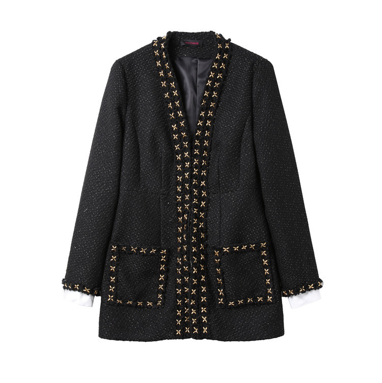 tweed jacket coat women beading office lady jacket coats black white color autumn winter runway fashion 2017 new arrivals ...