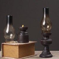 Vintage Retro Kerosene Lamp Resin Lights Classic Home Decor Decoration Craft Lantern Glass Cover