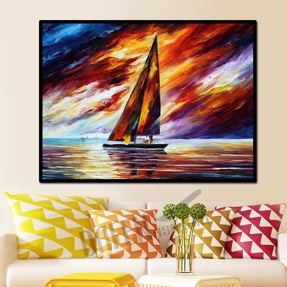 Modern Sailboat Sea Scenery Sailing <font><b>Boat</b></font> <font><b>Knife</b></font> Oil Canvas Painting Handmade Wall Art Picture for Living Room Wall poster prints image