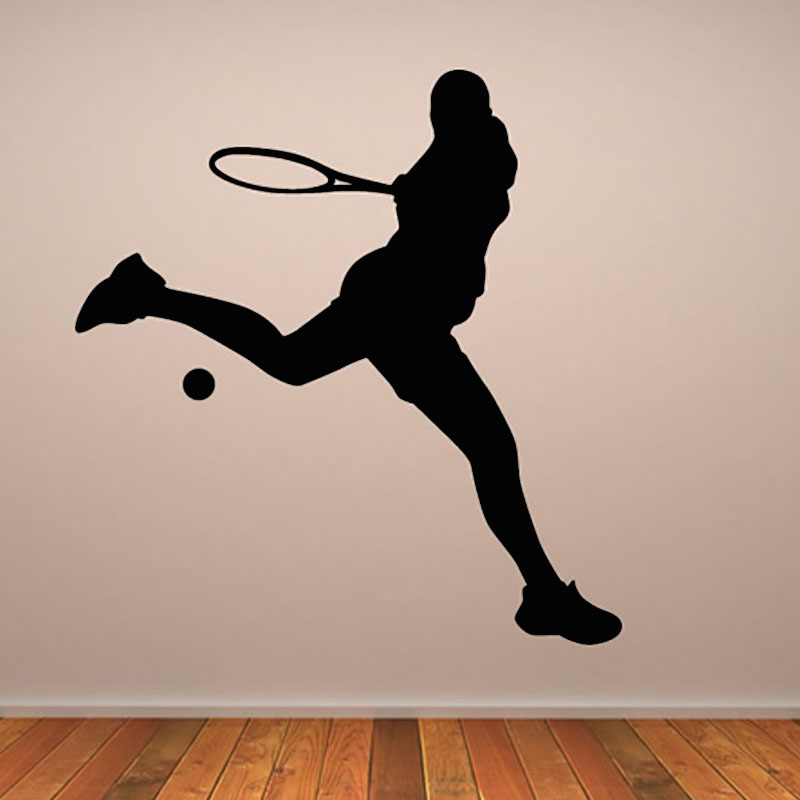 Hot Sale Home Decor Wall Sticker Playing Tennis Sticker PVC Removable Living Room Sport Player Silhouette Wall Decal