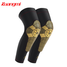 Kuangmi Knee Pads Basketball 1 Pair Leg Sleeve Protector Sports Safety Knee Support Brace Calf Support Compression Fitness Gym basketball knee pads adult football knee brace support leg sleeve knee protector calf support ski kneepad joelheira sport safety